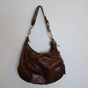 Vintage 90s Ralph Lauren brown leather hobo bag